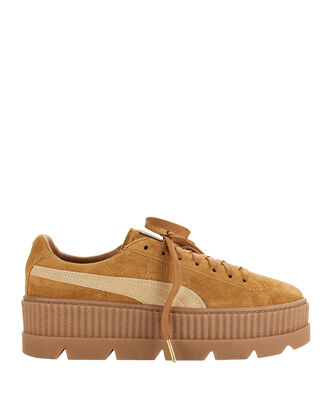 Cleated Brown Suede Creeper Sneakers, GOLD, hi-res