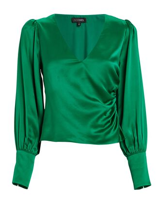 Ashley Satin V-Neck Blouse, GREEN, hi-res