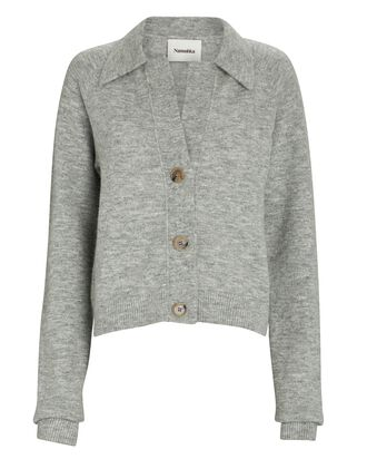 Cade Wool-Blend Polo Cardigan, GREY, hi-res