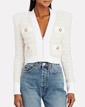 Lurex Knit Tweed Jacket, WHITE, hi-res