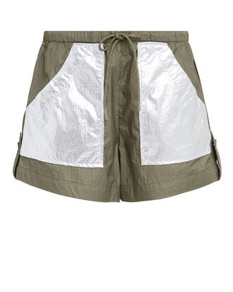 Mica Colorblocked Tech Shorts, OLIVE/SILVER, hi-res