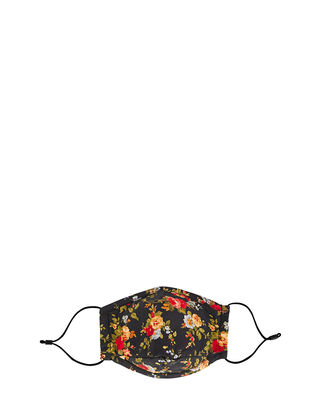 Triple-Layered Floral Cotton Face Mask, BLACK, hi-res