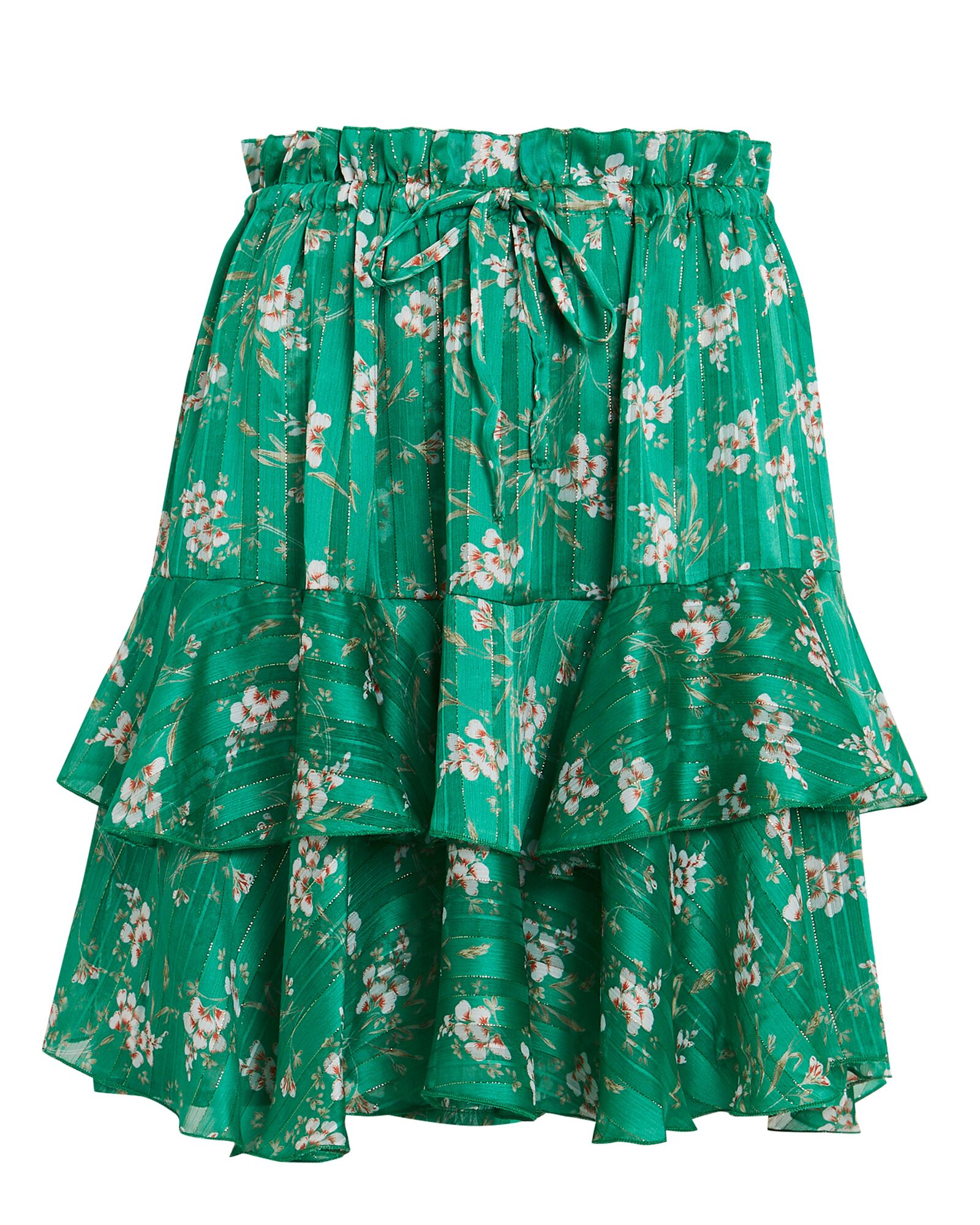 Meredith Ruffled Mini Skirt, GREEN, hi-res
