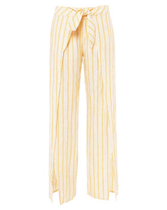 Sahira Tie-Front Linen Pants, YELLOW, hi-res