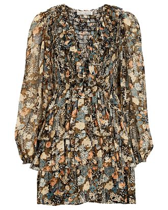 Tamara Ruffled Lurex Floral Dress, BROWN/BEIGE, hi-res
