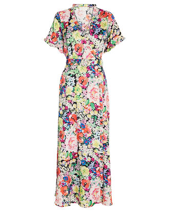 Paris Floral Midi Wrap Dress, , hi-res