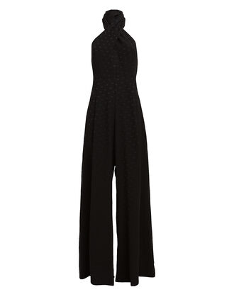 Marisa Jacquard Dot Jumpsuit, BLACK, hi-res