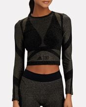 Studio Motion Lurex Crop Top, BLACK, hi-res