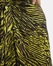 Tiger Print Silk Knotted Skirt, GREEN/TIGER PRINT, hi-res