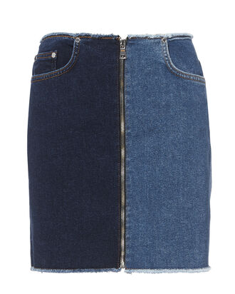 Two-Tone Denim Mini Skirt, DENIM, hi-res