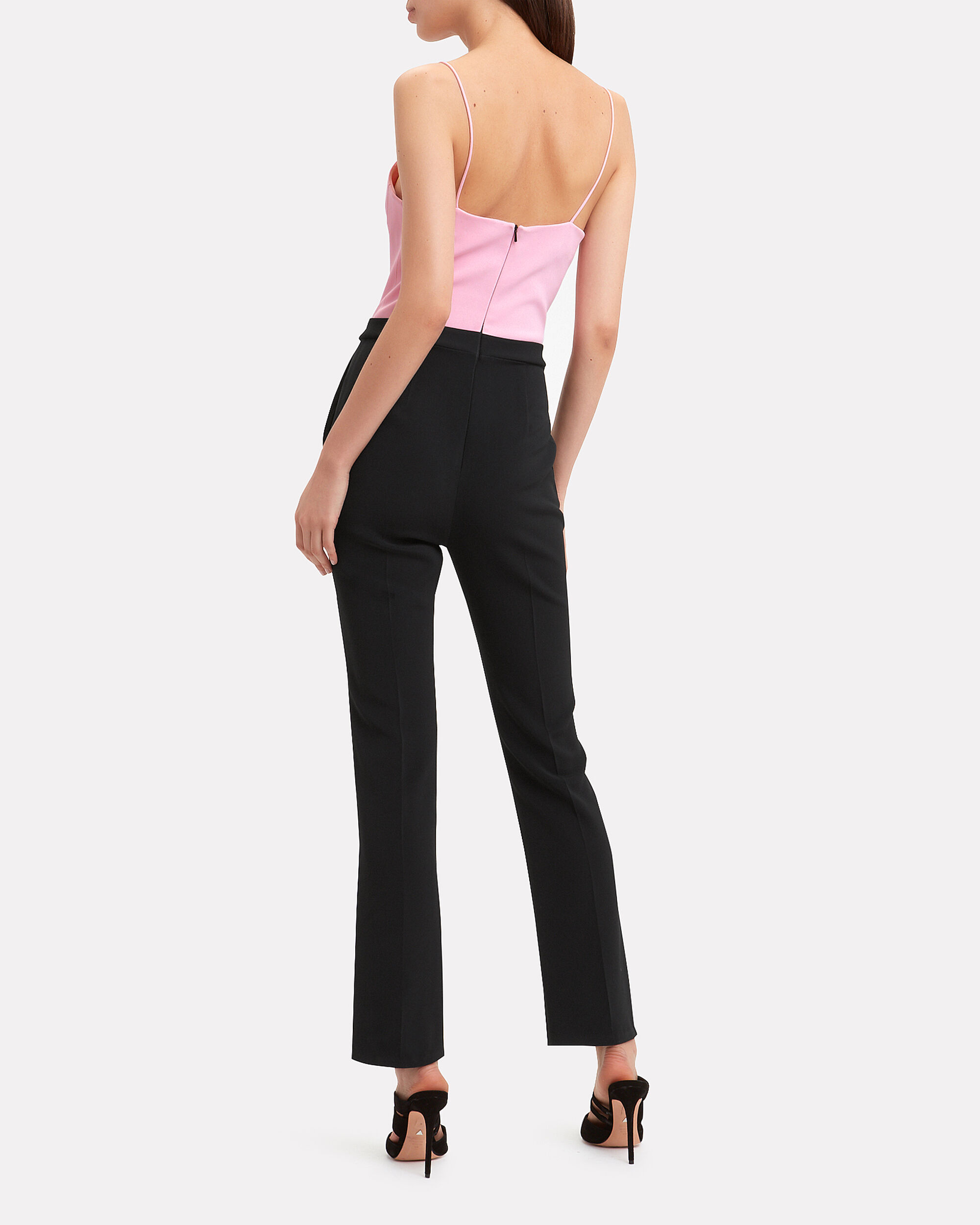 Crystal-Embellished Two-Tone Jumpsuit, PINK/BLACK, hi-res
