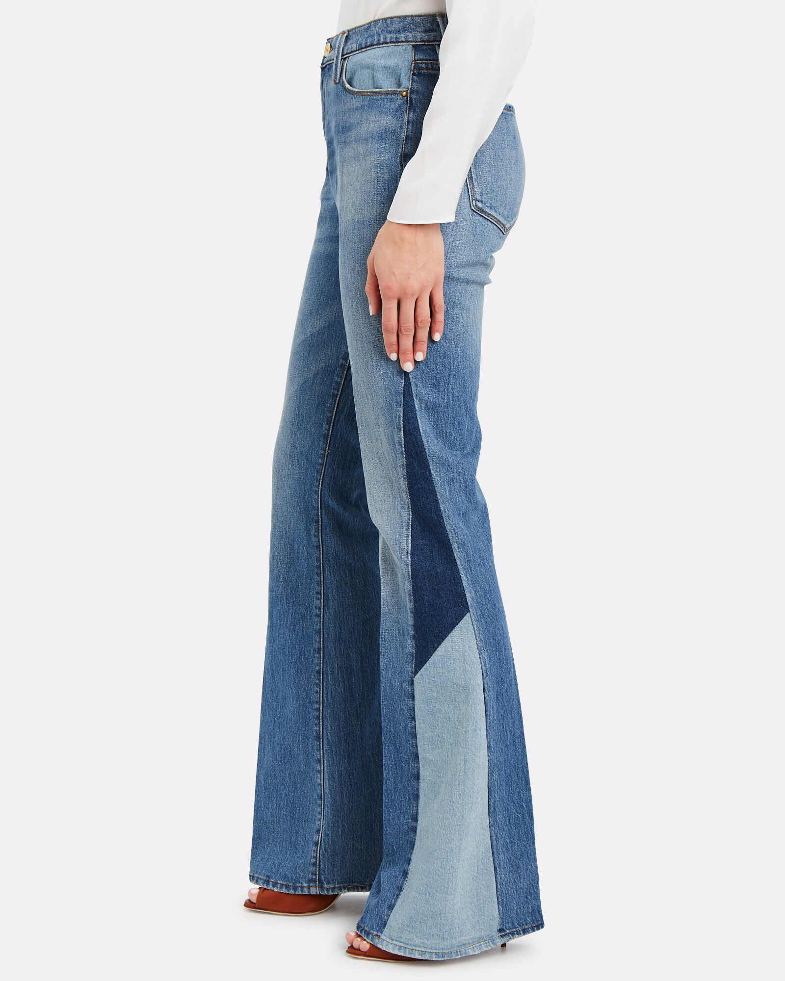 Le High Flare Blocked Jeans, DENIM, hi-res