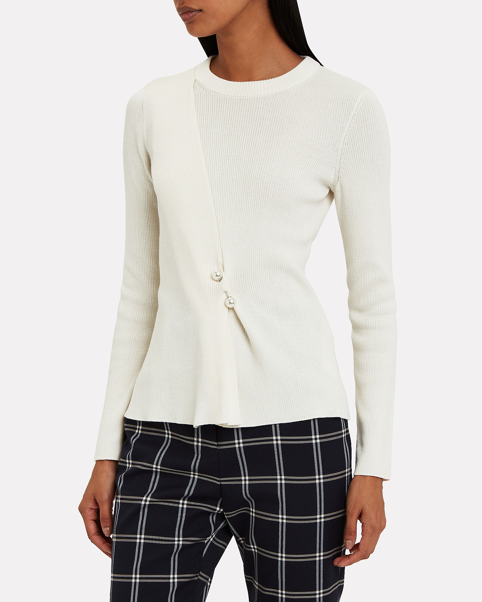 Pearl Brooch-Embellished Sweater, WHITE, hi-res