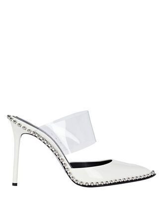 Rina Crystal-Embellished Mules, WHITE, hi-res
