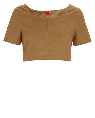 Tango Linen Cropped T-Shirt, BROWN, hi-res