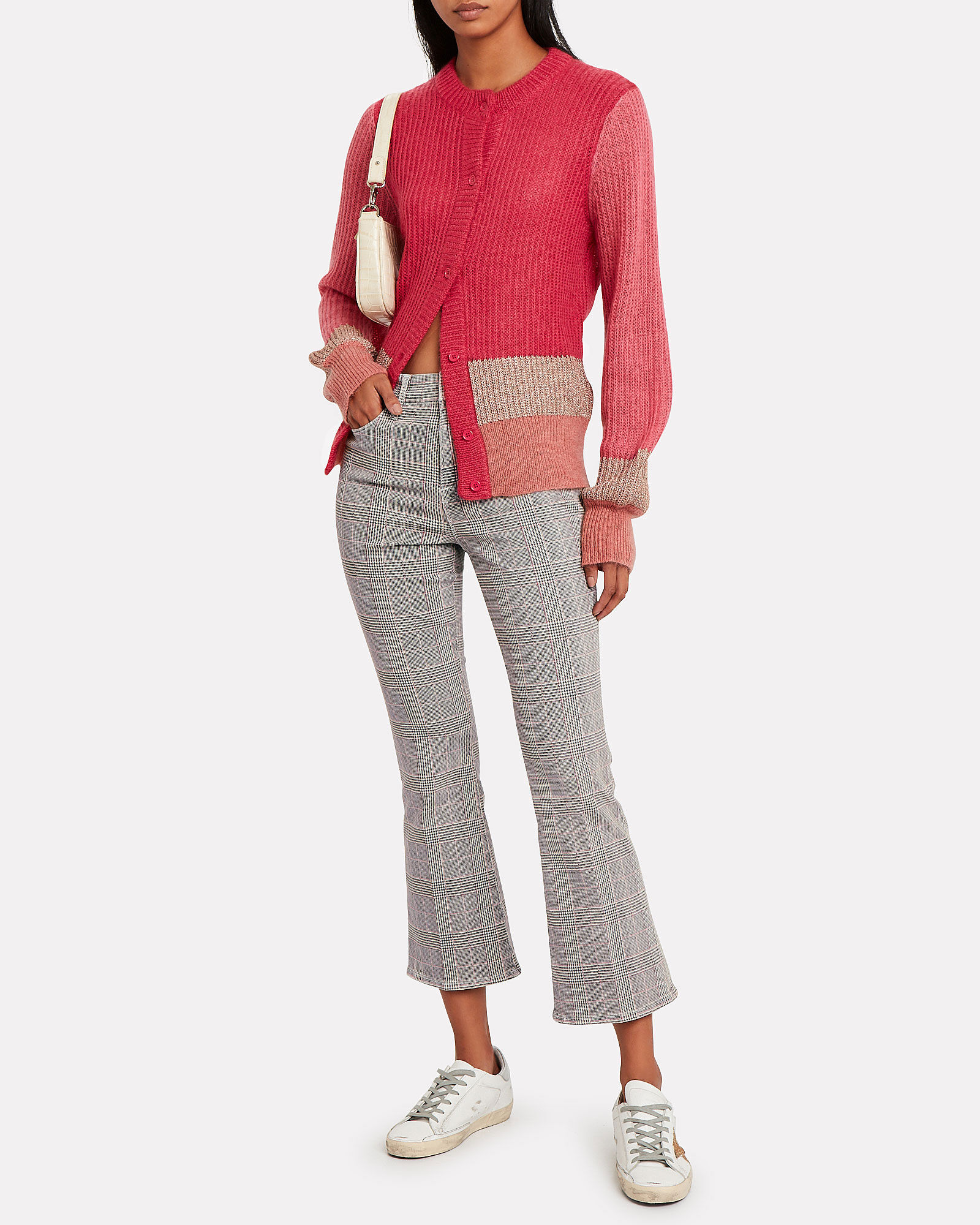 Hip Colorblocked Cardigan, PINK, hi-res