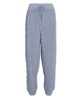 Cable Knit Wool-Cashmere Joggers, BLUE, hi-res