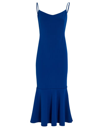 Twirl Crepe Open Back Dress, BLUE-MED, hi-res