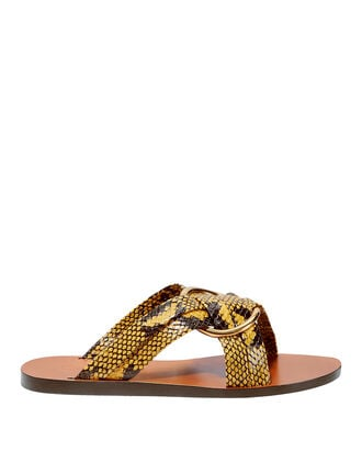 Rony Flat Sandals, YELLOW, hi-res
