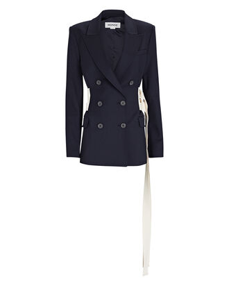 Triple Belted Double-Breasted Blazer, NAVY, hi-res