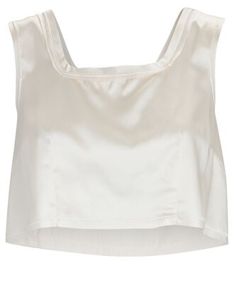 Charli Cropped Silk Tank Top, IVORY, hi-res
