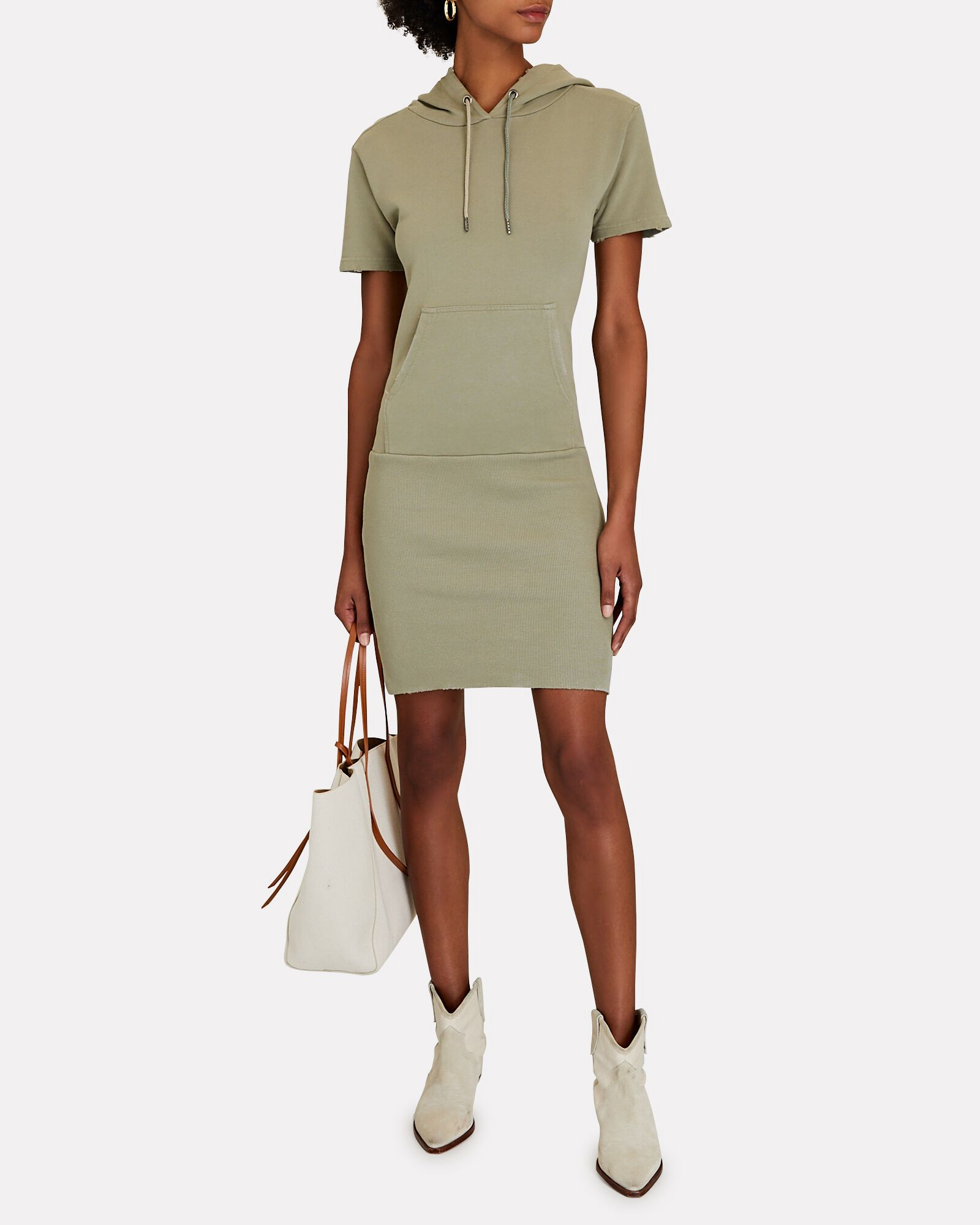 Rory Hooded Terry Mini Dress, OLIVE/ARMY, hi-res