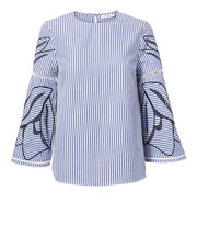 Contrast Embroidery Pinstripe Top, NAVY, hi-res
