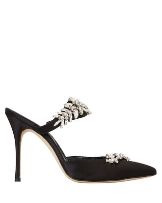 Lurum Crystal-Embellished Satin Pumps, BLACK, hi-res