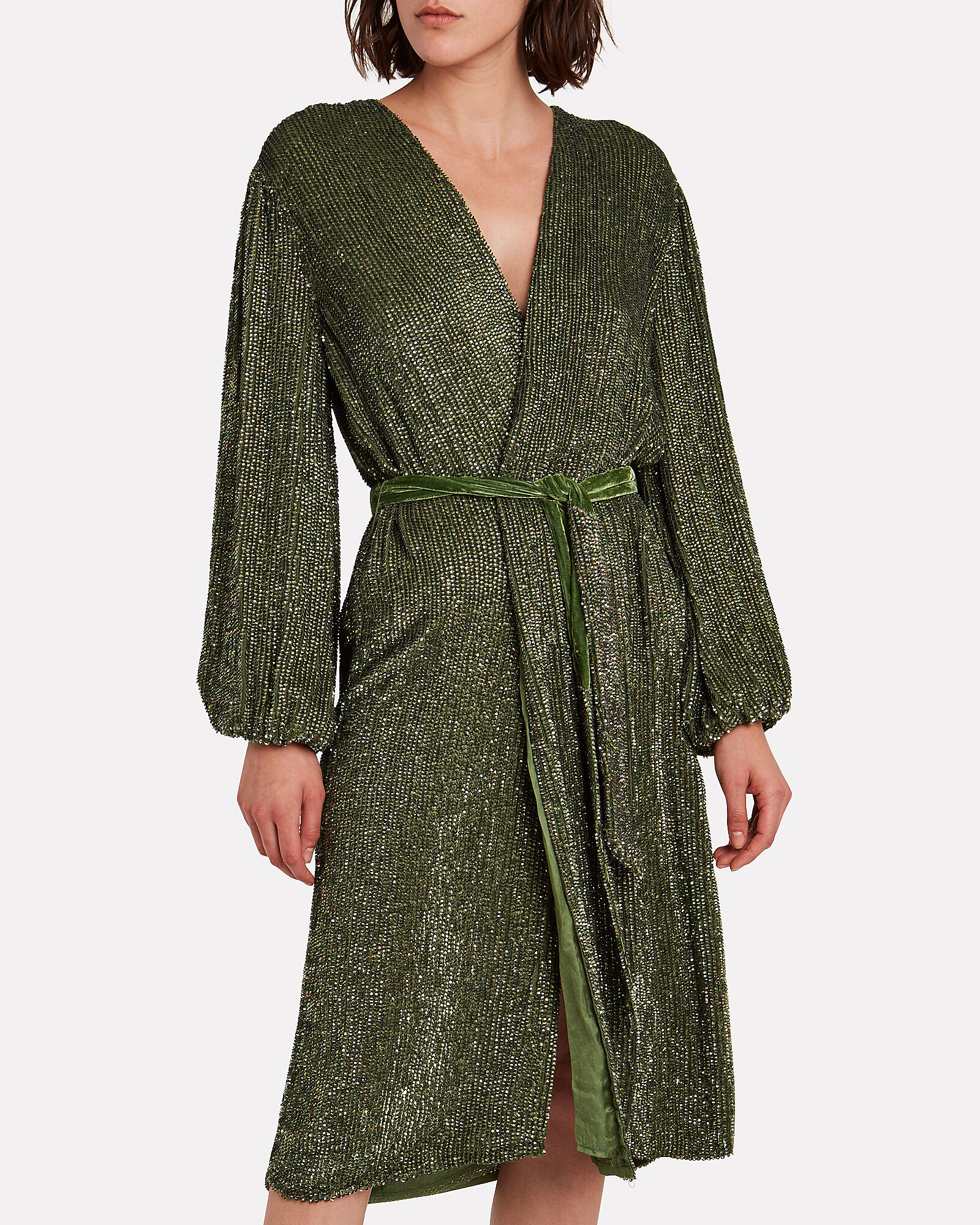 Audrey Sequin Wrap Dress, GREEN, hi-res