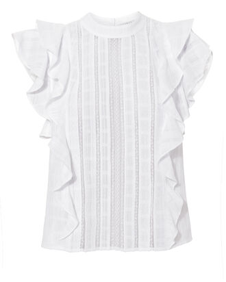 Ruffle Sol Top, WHITE, hi-res