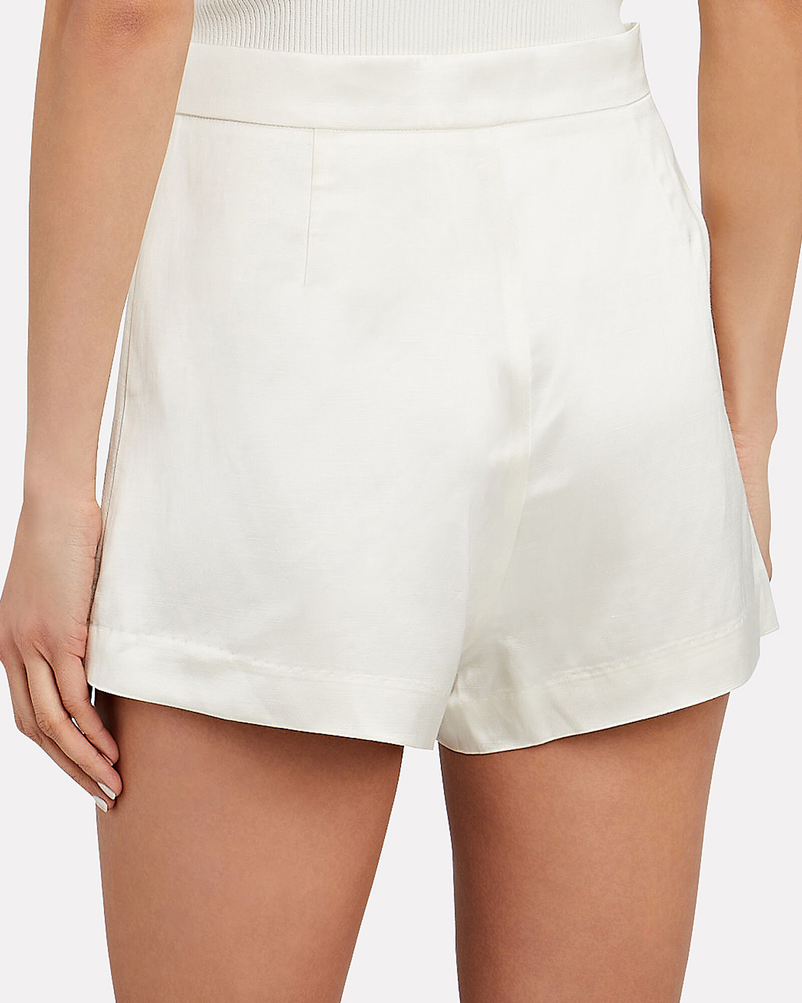 Eden Satin Shorts, IVORY, hi-res