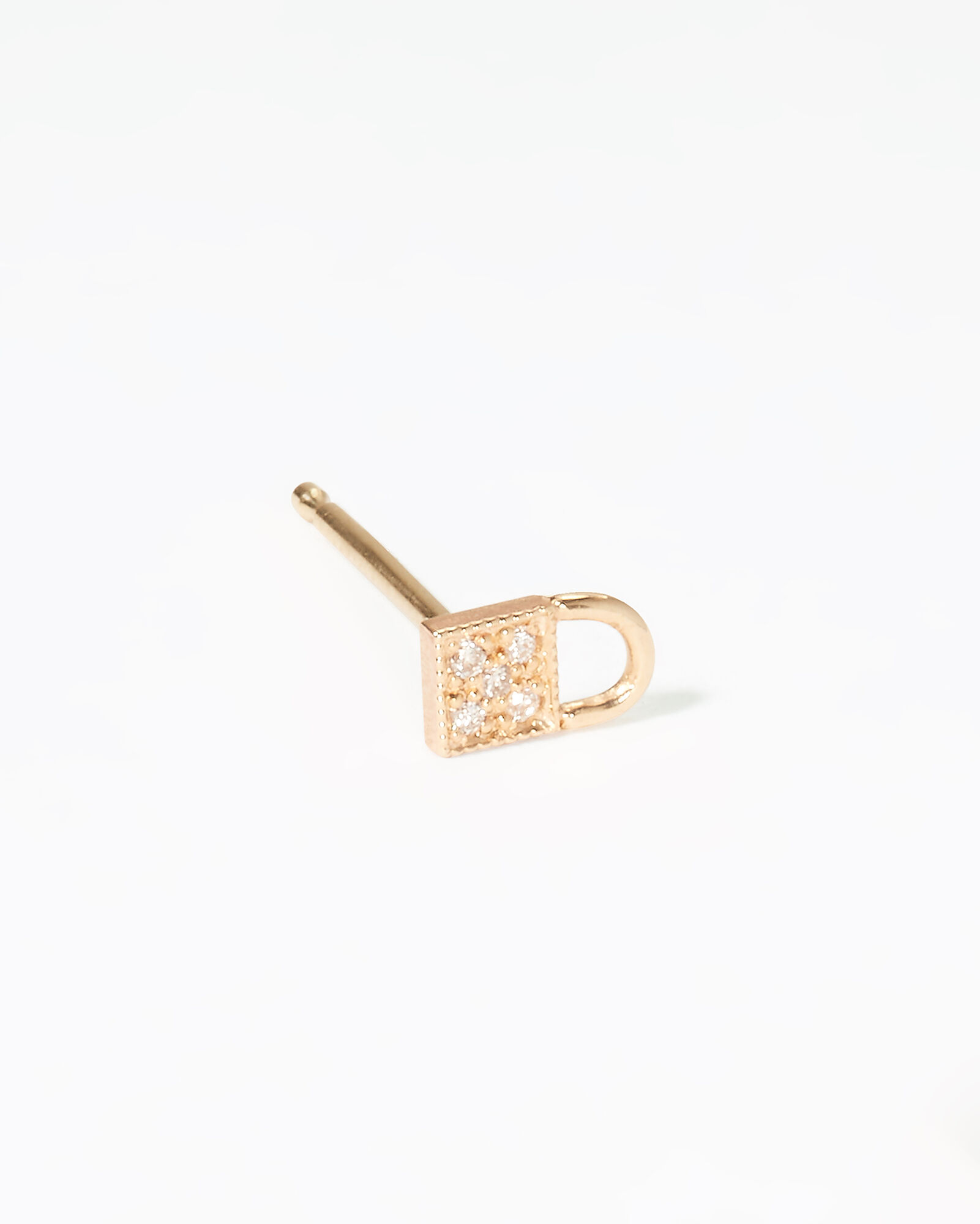 Padlock Pavé Single Stud, GOLD, hi-res