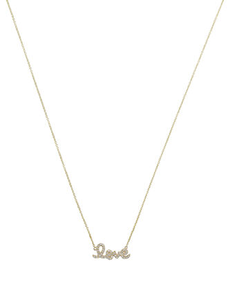 Diamond Scripted Love Necklace, GOLD, hi-res
