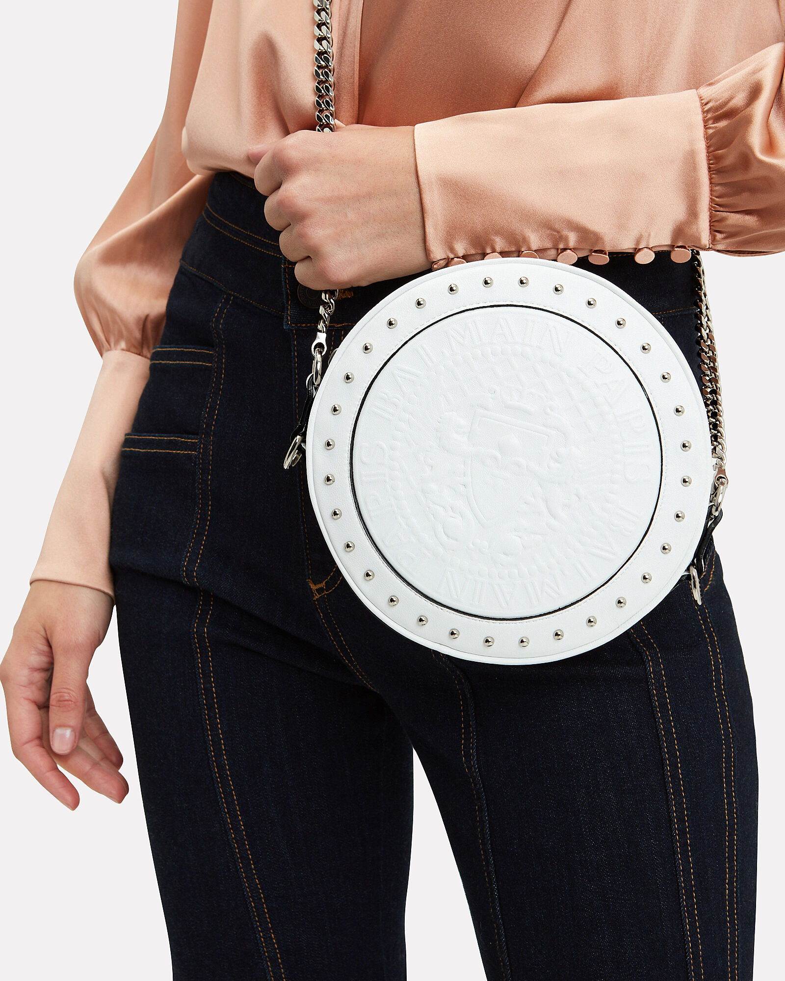 Disco Studded Circle White Crossbody Bag, WHITE LEATHER, hi-res