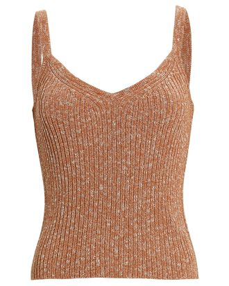 Zoey Rib Knit Tank Top, BEIGE, hi-res