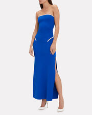 Strapless Knit Column Gown, COBALT BLUE, hi-res