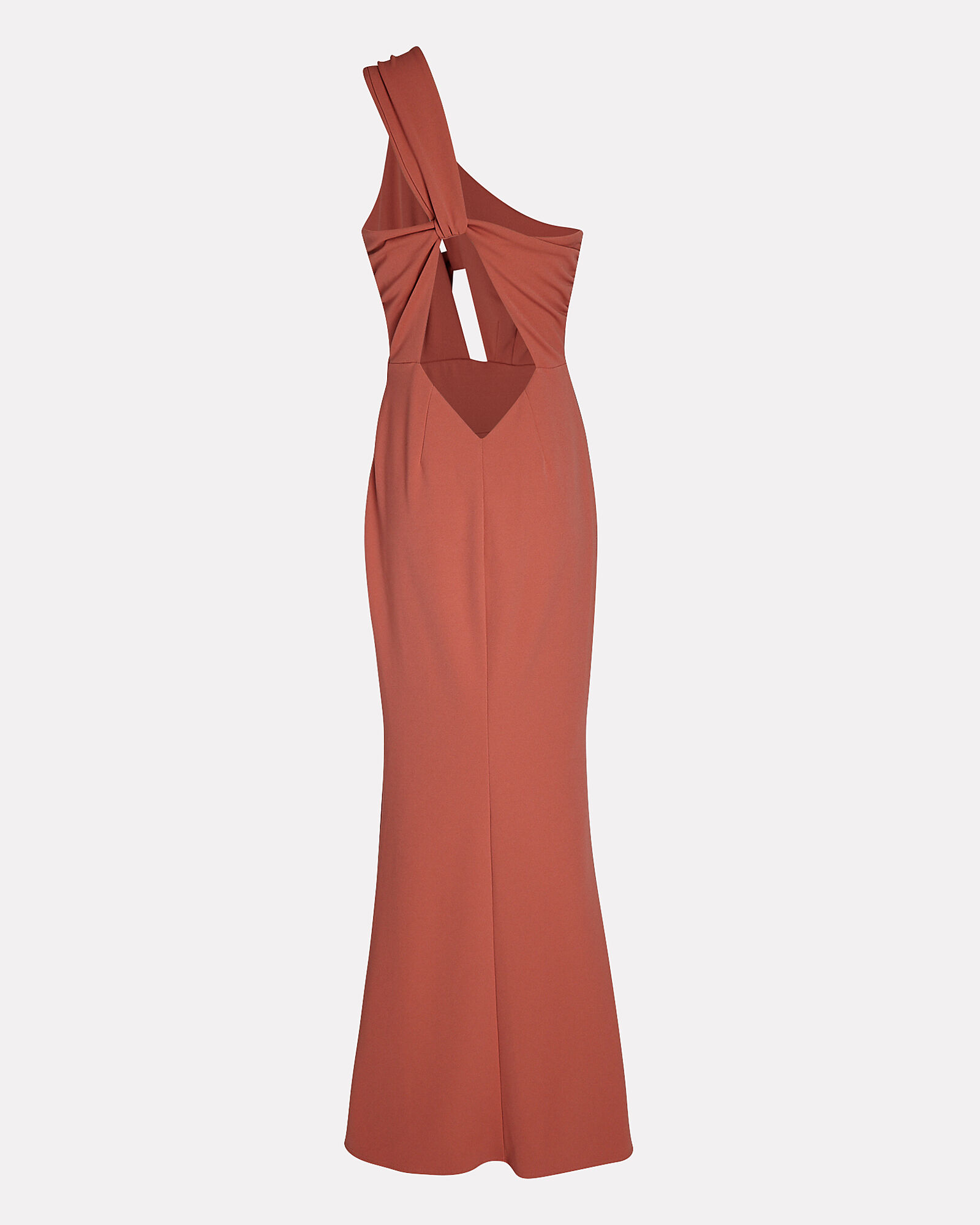 Edgy One-Shoulder Maxi Dress, PALE BROWN, hi-res