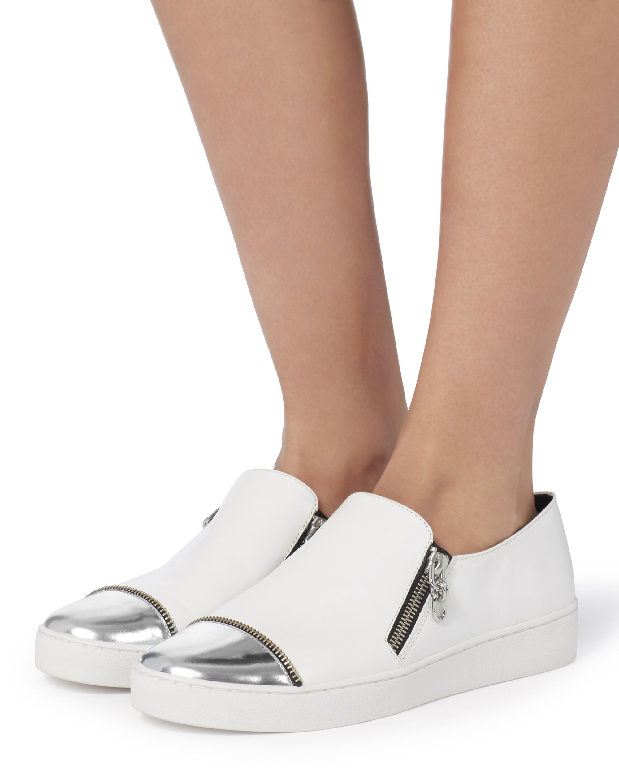 Silver Cap Toe White Leather Sneakers, WHITE, hi-res