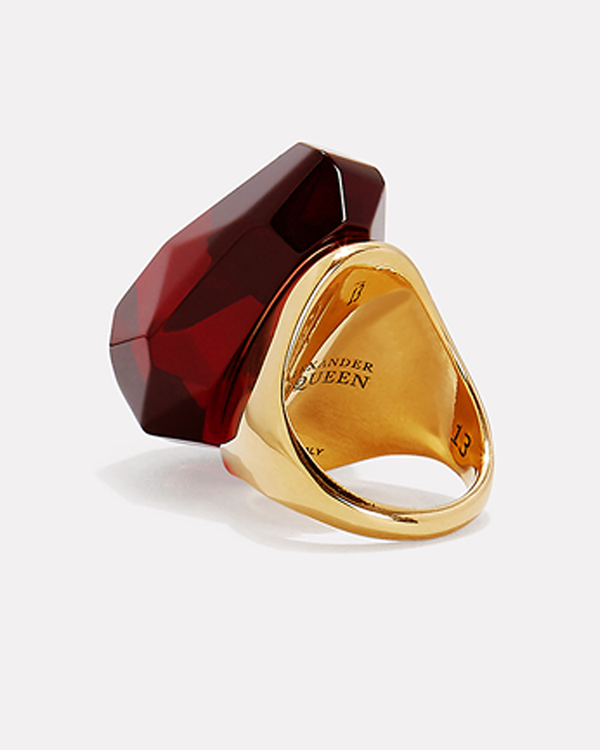 Faceted Stone Ring, RED, hi-res