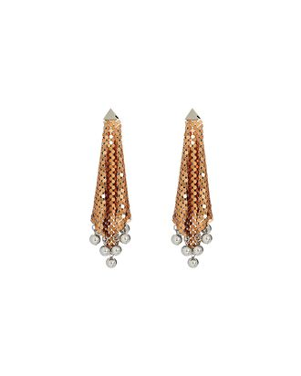 Pixel Flow Chainmail Earrings, GOLD, hi-res