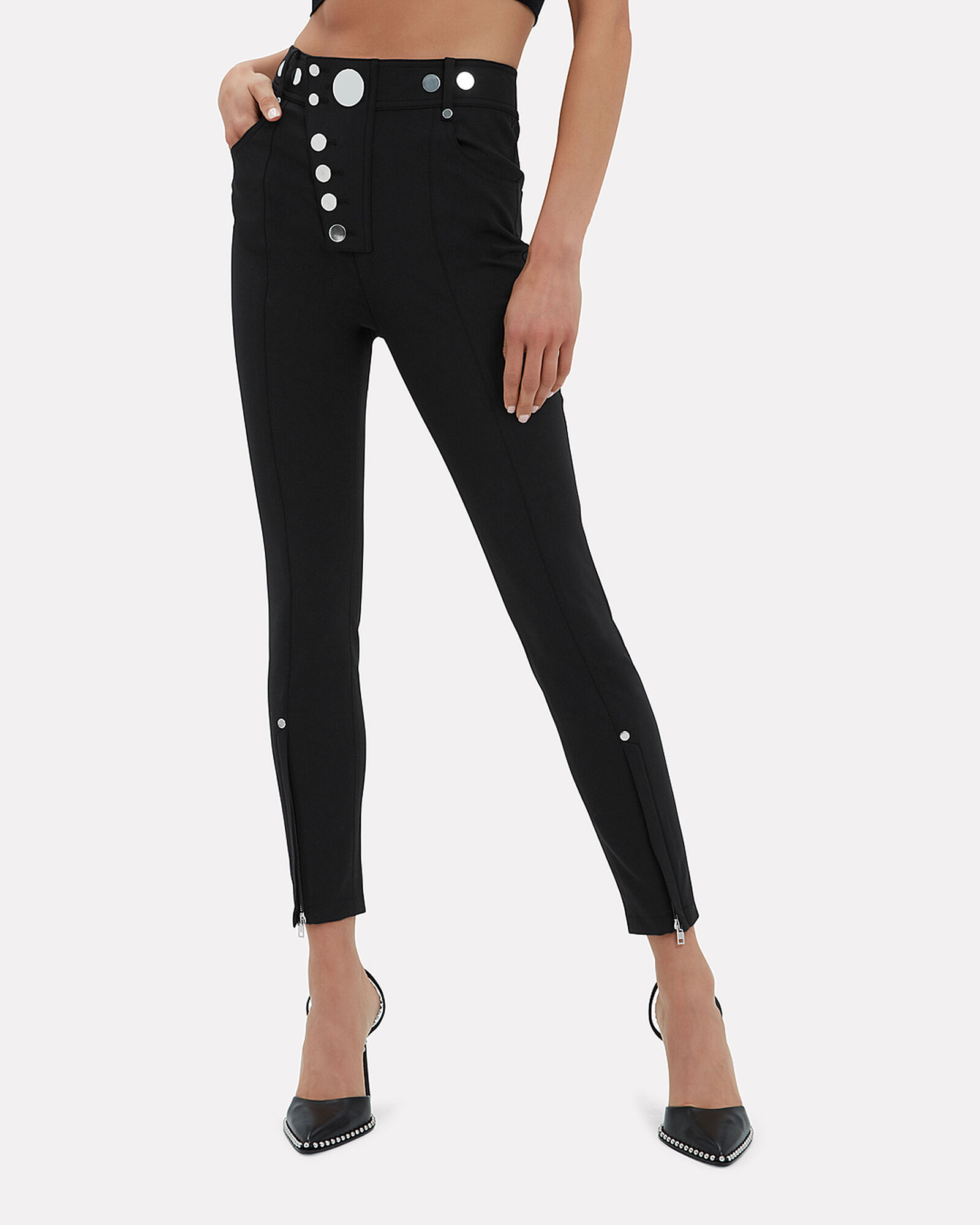 High Waist Snap Ponte Leggings, BLACK, hi-res