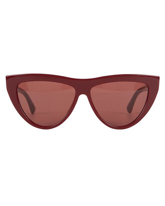 Rounded Cat Eye Sunglasses, BURGUNDY, hi-res