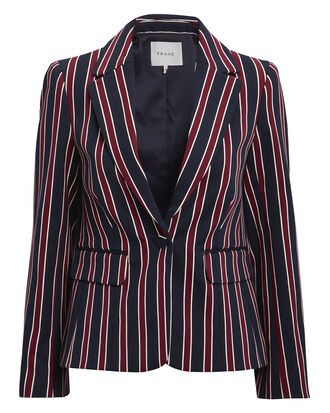 Shrunken Striped Blazer, NAVY/RED, hi-res