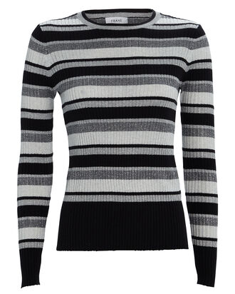 Panel-Striped Crewneck Sweater, SILVER/STRIPES, hi-res