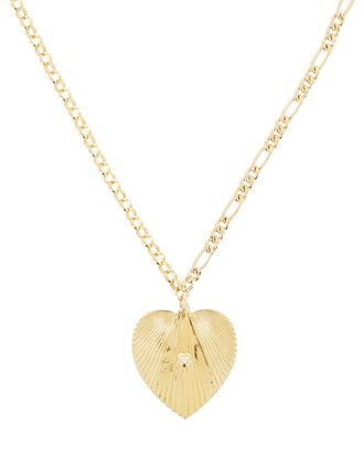 Jumbo Heart Mismatch Chain Necklace, GOLD, hi-res
