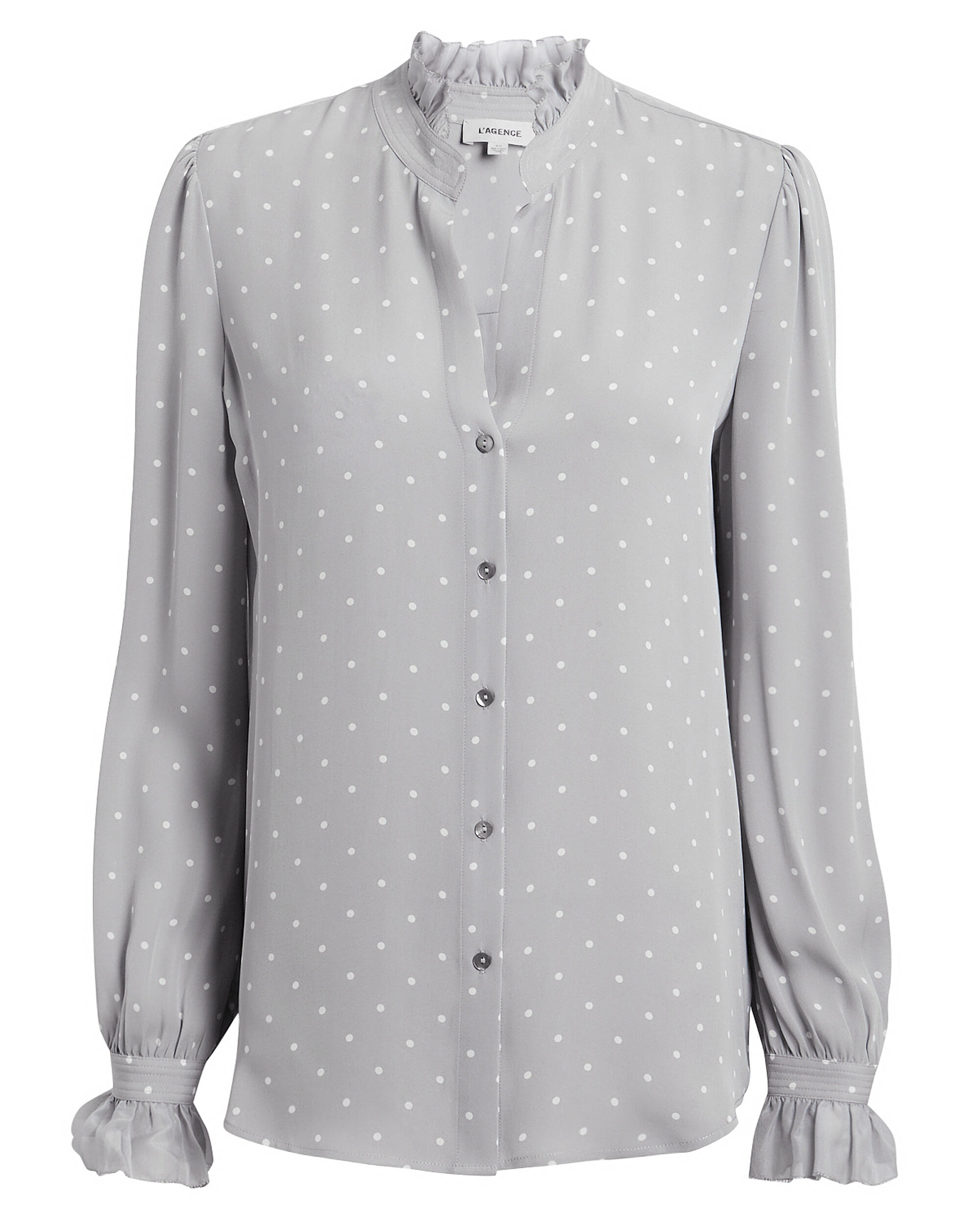 Carla Dot Victorian Blouse, GREY/WHITE, hi-res