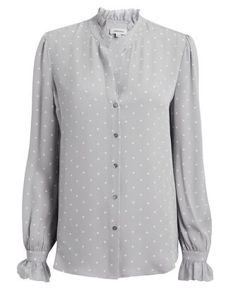 Carla Dot Victorian Blouse, GREY, hi-res