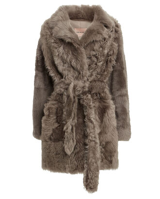 Belted Curly Shearling Coat, GREY, hi-res