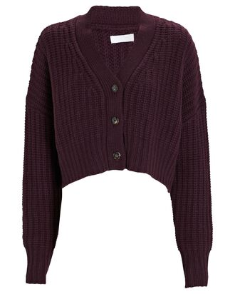 Preston Cropped Cashmere Cardigan, RED-DRK, hi-res