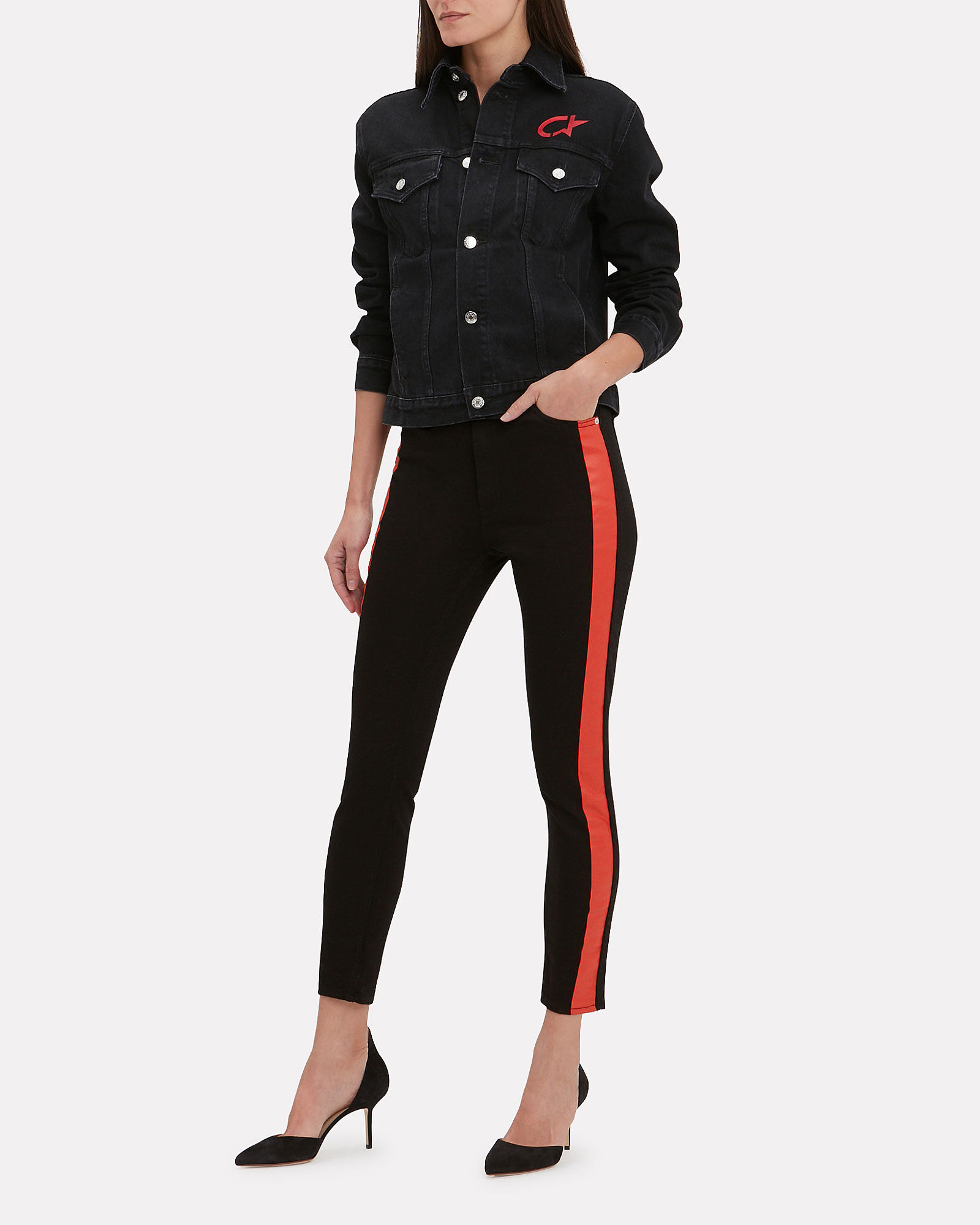 Side Stripe Skinny Jeans, BLACK, hi-res